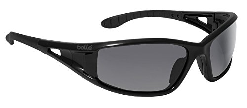 Bollé Safety 253-LW-40052 Lowrider Safety Eyewear with Shiny Black Polycarbonate Frame and Smoke Lens