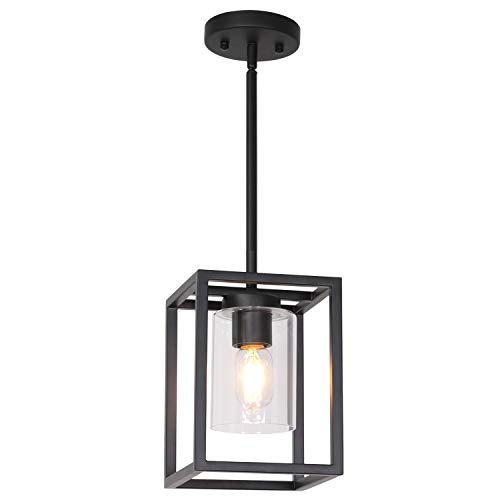 - VINLUZ Mini Farmhouse Pendant Lighting Black One Light Cage Chandelier Glass Shade Contemporary Modern Kitchen Island Lights Fixtures Hanging Dining Room Living Room