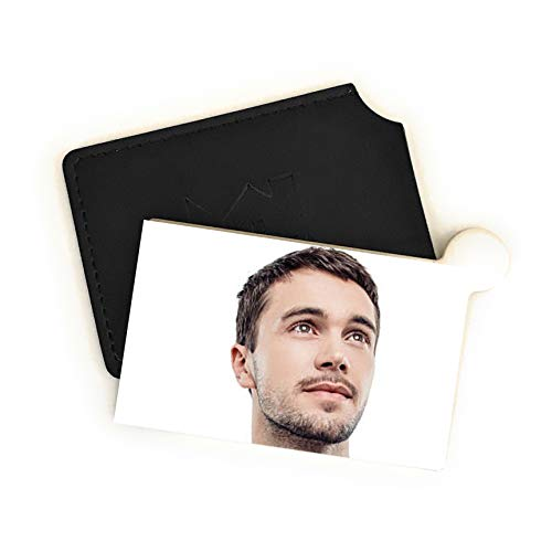 Markha Travel Pocket Mirror for Men – Small and Compact Unbreakable, Stainless Mini Hand Mirror with PU Leather Black Case