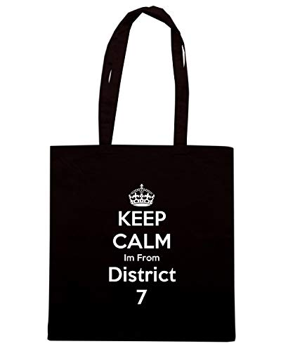 Speed Shirt Borsa Shopper Nera TKC2603 KEEP CALM IM FROM DISTRICT 7