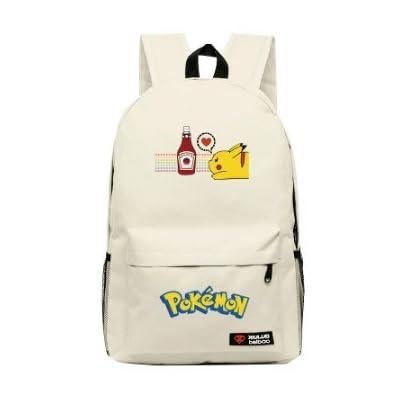Pokemon Sac Main Bandoulière Femme Homme Besace Court Voyage Original Pochette Dos Banane Cartable Go Bag Pikachu blanc Musette Sac à dos
