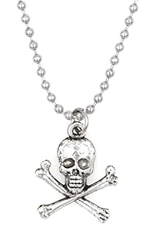 "21.6"" 2.4mm Stainless Steel Ball Chain Necklace Skull & Crossbones (BC 30V) - Crossbones Slide Charm"