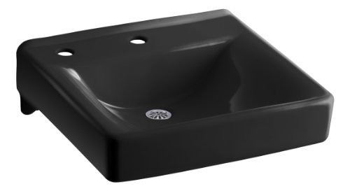 KOHLER K-2084-NL-7 Soho Wall-Mount Bathroom Sink with Single-Hole Faucet Drilling, Left-Hand Soap/Lotion Dispenser Hole Drilling and Sealed Overflow, Black Black