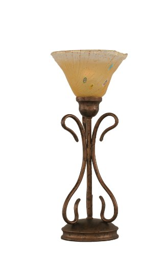 Toltec Lighting 31-BRZ-750 Swan Mini Table Lamp Bronze Finish with Amber Crystal Glass, 7-Inch