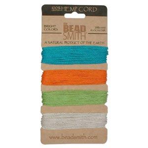 Natural Hemp Twine Bead Cord 1mm Four Bright Tropical Color Variety- 30 Feet - Hemp Beadsmith