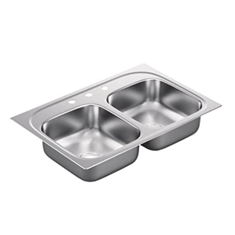Moen G222173 2200 Series 22 Gauge Double Bowl Drop In Sink, Stainless Steel (Moen Drop In Sink)