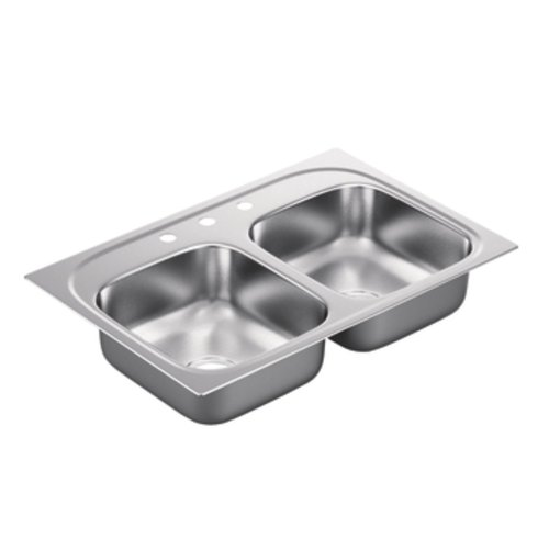 Moen G222173 2200 Series 22 Gauge Double Bowl Drop In Sink, Stainless Steel by Moen