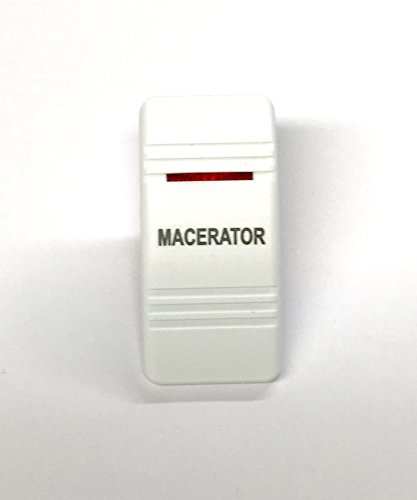 - Euro Rocker Switch Cover with Text, White with Red Lens. Contura III, Fits Carling, Cole Hersee, Blue seas (MACERATOR)