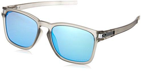 Oakley Men's OO9358 Latch Square Asian Fit Rectangular Sunglasses, Matte Grey Ink/Prizm Sapphire, 55 ()