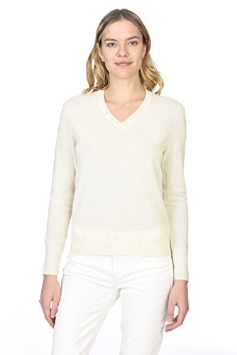 State Cashmere Women's 100% Pure Cashmere Long Sleeve Pullover V Neck Sweater (Sweater Pure Cashmere)