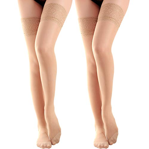 dc72d7aea6d La Dearchuu Women's Sheer Thigh High Silicone Lace Top Stay Up Hosiery Silk  Reflection Stockings (