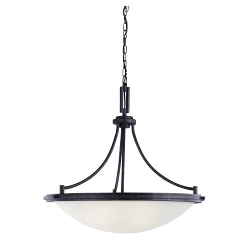 Sea Gull Lighting 65662-839 Winnetka - Four Light Pendant, Blacksmith Finish with Satin Etched Glass
