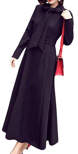 Alion Womens Solide Arc Couleur Cravate Longue Robe Maxi Swing Coupe Slim Noir À Manches