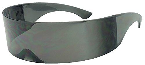 Black Retro Futuristic Single Shield Color Oversized Wrap Cyclops / Visor Sunglasses (Smoke, - Single Sunglasses Lense