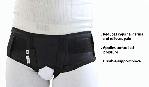 Wonder care - Inguinal hernia support belt Groin truss brace post surgery Hernia pain relief, two compression pressure foam pads, adjustable elastic straps-A107 L