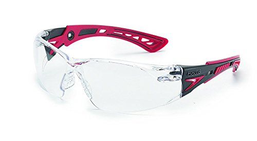 Bolle Safety 41080 Rush+ Safety Glasses, Black & Red Frame, Clear ()