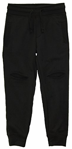 Panyc Little Boys' Solid Ripped French Terry Jogger Pants, Black, - Classic French Terry Pant Fit