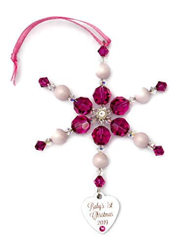 (Baby's First Christmas 2019 Hot Pink Snowflake Ornament with Swarovski Crystals)