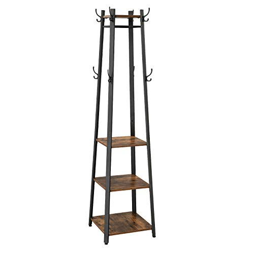 VASAGLE Industrial Coat Rack, Coat Stand with 3 Shelves, Ladder Shelf with Hooks and Clothes Rail, Metal Frame ULCR80X