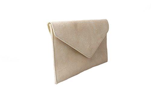 Accessoryo - Frauenbeutel Wildleder Umschlag Wüstensand Kupplung
