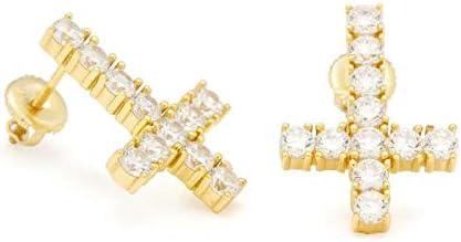 KING ICE キングアイス ゴールドピアス 2個セット クロス ジルコニア 12mm×15mm GOLD