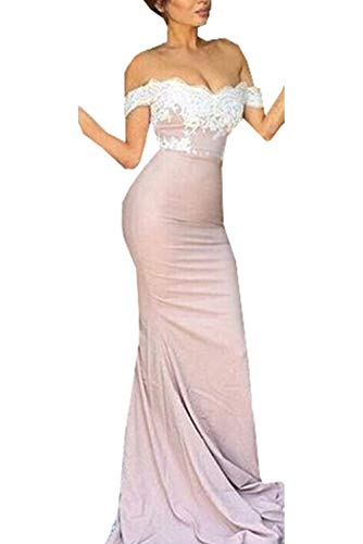 (Off-the-Shoulder Bridesmaid Gown Backless Mermaid Prom Dress Style 9 Champagne US6 )