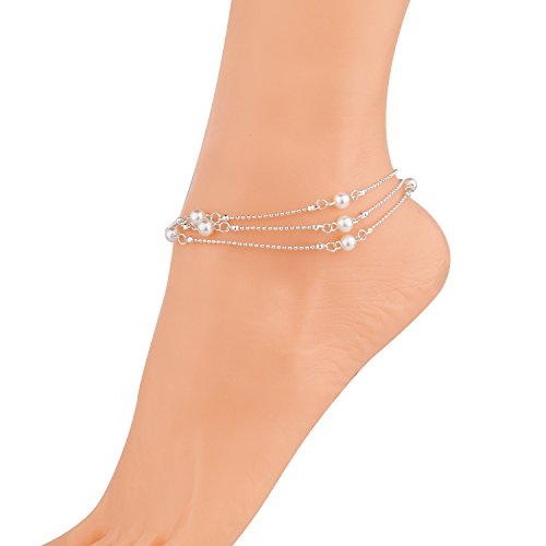 Monily Layer Foot Chain Infinite Synthesis Pearl Anklet Woma