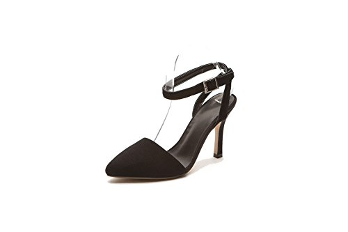 High Heels Buckle AgooLar Pointed Suede Women's Black Closed Sandals Solid Toe Imitated qwx4tI