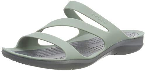 Crocs Women's Swiftwater Sandal Sandal, Dusty Green/Charcoal, 4 M US