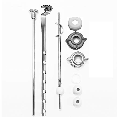 (PF WaterWorks PF0907 Lavatory Pop-Up Drain Repair Kit Center Pivot Assembly-Threaded Adjustable Nuts (Universal, Moen, Pfister) + 3 Sizes of Balls + Clip, Linkage and Pull Rod, Chrome)