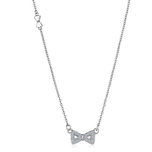 (KnSam Pendant Necklaces Women Silver Bow White Necklace Chain 6.5Mm Initial Necklace)
