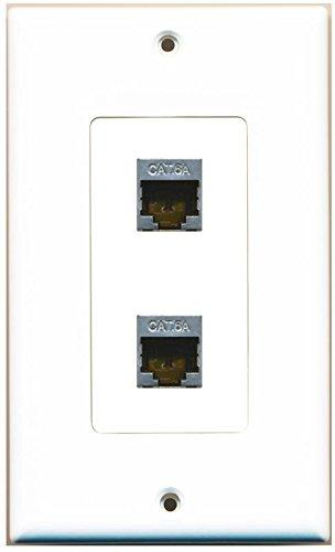 RiteAV CAT 6A 2 Port Shielded Cat6a Wall Plate 1 Gang Decorative White