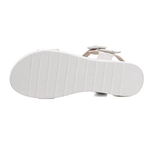 VogueZone009 Mujetes Puntera Abierta Mini Tacón Sólido Hebilla Sandalia de Cuña con Lazos Blanco