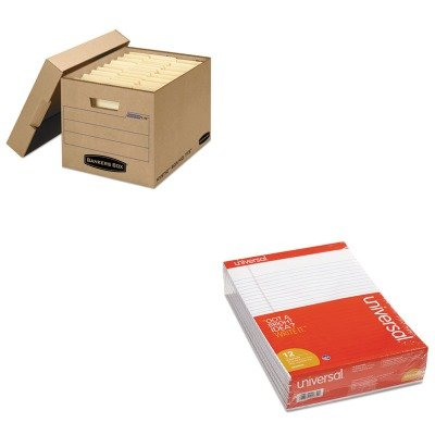 KITFEL7150001UNV20630 - Value Kit - Bankers Box Filing Storage Box with Locking Lid (FEL7150001) and Universal Perforated Edge Writing Pad (UNV20630) by Bankers Box