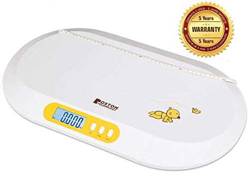 Boston Tech BA-104 - Accurate Digital Baby Scale For Toddlers and Pets with Comfortable Curving Platform; TARA and Hold Function. Includes Measuring Tape and Batteries
