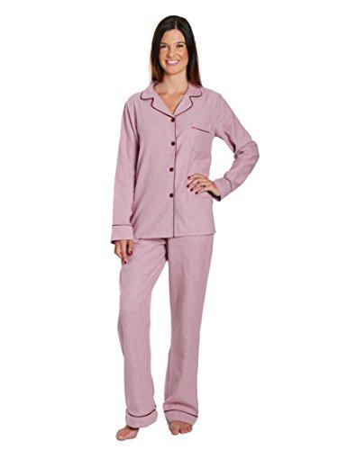 Women's Cotton Flannel Pajama Sleepwear Set - Herringbone Muave - X-Large