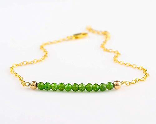 Beaded Chrome Diopside Gemstone Bracelet Jewelry Gift for Her Mom, Dainty, Minimalist, Layered, Birthday Gift