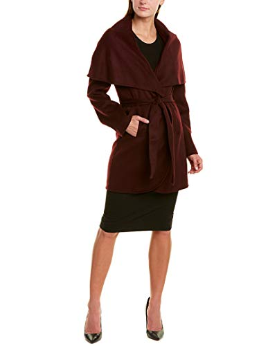 T Tahari Women's Double face Wool Coat with Optional self tie Belt, Port Wine, Medium
