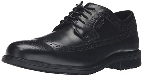 Rockport Men's Essential Details II Wing TIP Oxford, Black Leather, 075 W US