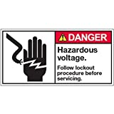 Vinyl ANSI Warning Labels - Danger Hazardous Voltage Follow - 3-1/2''h x 7''w, White HAZARDOUS VOLTAGE. FOLLOW LOCKOUT PROCEDURE BEFORE SERVICING.á - Super-Stik Adhesive