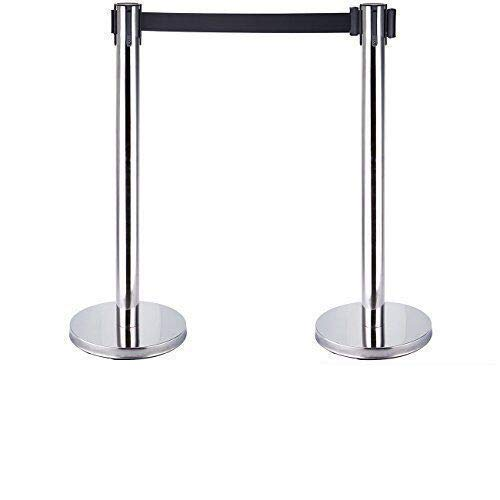 Iglobalbuy 2x Retractable Stretch Barriers Belt Stanchion Set Security Pole Posts Crowd Control with One Belts Iglobalbuy Co ltd