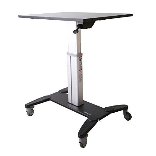 StarTech.com Sit Stand Mobile Workstation - Rolling Desk - One-Touch Height Adjustment with Lock - Standing Desk Converter - Mobile Desk (Workstation Adjustable Stand Mobile)