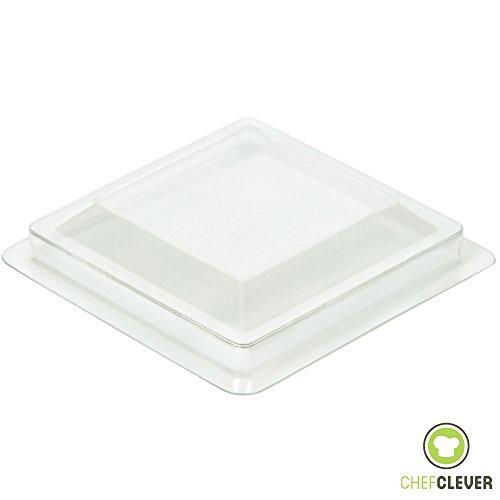 Lids for 2 oz Square Short Mini Serving Cups [50 Count, Clear Plastic]