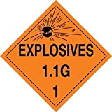 Accuform Signs MPL17VP100 Plastic Hazard Class 1/Division 1G DOT Placard, Legend ''EXPLOSIVES 1.1G 1'' with Graphic, 10-3/4'' Width x 10-3/4'' Length, Black on Orange (Pack of 100)
