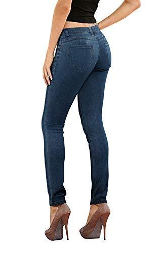 Women's Butt Lift Stretch Denim Jeans-P37369SK-Darkwash-5