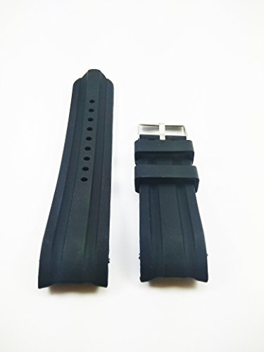 24mm Black Silicone Rubber Curved End Dive Watch Band Strap (Citizen Flexible Band)