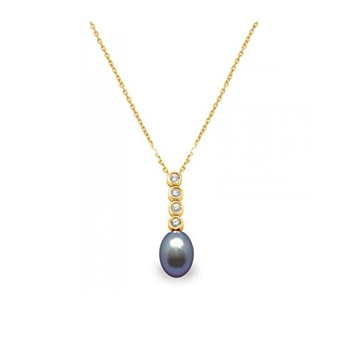 Pendentif Perle de Culture d'eau douce noire, Diamants et Or Jaune 750/1000 -Blue Pearls-BPS K017 W