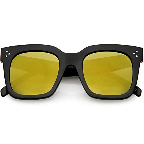 6cf71d9d55 zeroUV - Retro Oversized Square Sunglasses for Women with Flat Lens 50mm