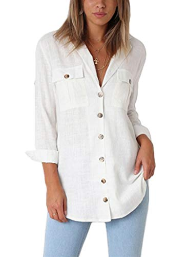 Astylish Women Casual Cuffed Sleeve Button Down Shirts Blouse Loose Tops White Size Large (US 12-14) ()