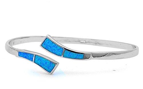 (Lab Created Opal .925 Sterling Silver Bangle Bracelets 7.25